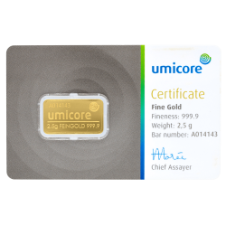 Goudbaar Umicore 2,5 gram met certificaat