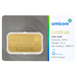 Goudbaar Umicore 20 gram met certificaat