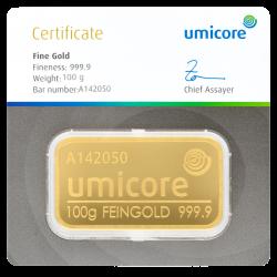 Goudbaar Umicore 100 gram met certificaat